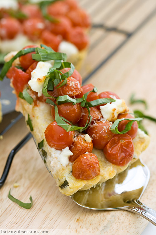 Three Cheese Polenta Tart with Tomatoes and Basyl